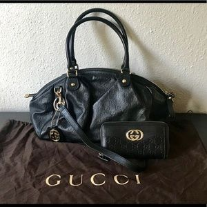 GUCCI Guccissima Sukey Medium Boston Bag + Wallet